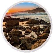 White's Point Sunset 2 Round Beach Towel