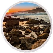 White's Point Sunset 2 Round Beach Towel