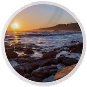White's Point Sunset Round Beach Towel by Ed Clark