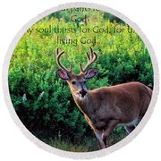 Whitetail Deer Panting Round Beach Towel