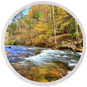 Whitetop River Fall Round Beach Towel