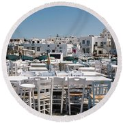 Whitewashed Naoussa Round Beach Towel