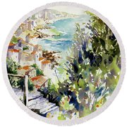 Round Beach Towel featuring the painting Whitewashed Vista by Rae Andrews