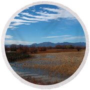 Round Beach Towel featuring the photograph Whitewater Draw by James Peterson