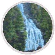 Whitewater Falls I Round Beach Towel