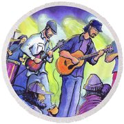 Round Beach Towel featuring the painting Whitewater Ramble At The Barkley Ballroom by David Sockrider