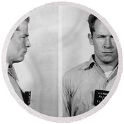Whitey Bulger Mug Shot Round Beach Towel by Edward Fielding