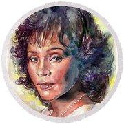 Whitney Houston Portrait Round Beach Towel