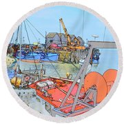Whitstable Harbour 11 Round Beach Towel