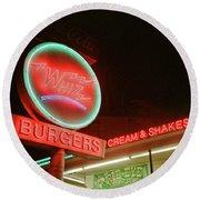 Whiz Burgers Neon, San Francisco Round Beach Towel