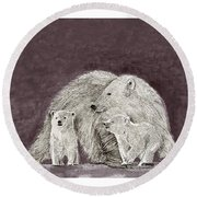 Round Beach Towel featuring the painting Polar Bear Family by Jack Pumphrey