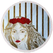 Who Is She? Round Beach Towel