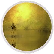 A Silent Autumn Morning Round Beach Towel