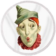 Round Beach Towel featuring the digital art Who Me? by ReInVintaged
