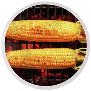 Whole Corn On Grill Round Beach Towel