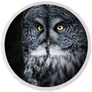Whooo Are You Looking At? Round Beach Towel