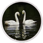 Round Beach Towel featuring the photograph Whooper Swans by Sandy Keeton