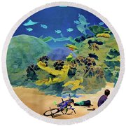Who's Fishing? Round Beach Towel