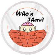 Who's There Round Beach Towel