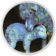 Whose Little Lamb Are You? Round Beach Towel