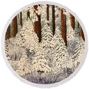 Whose Woods These Are I Think I Know Round Beach Towel