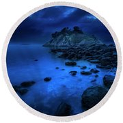 Round Beach Towel featuring the photograph Whytecliff Dusk by John Poon