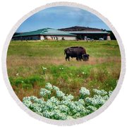 Wichita Mountain Wildlife Reserve Welcome Center Verticle Round Beach Towel