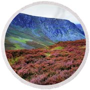 Round Beach Towel featuring the photograph Wicklow Heather Carpet by Jenny Rainbow