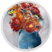 Wide-eyed Flowers In A Blue Pot Round Beach Towel