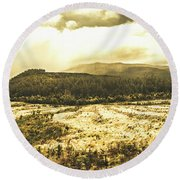 Wide Open Tasmania Countryside Round Beach Towel