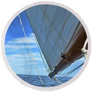 Wide Sail Blue Horizon Round Beach Towel