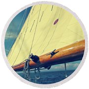 Large Sail Blue Horizon With Antique Yellow Tinting Round Beach Towel