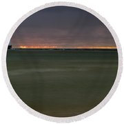 Wide View Of Lighthouse And Sunset Round Beach Towel