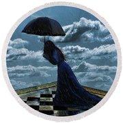 Widow In The Rain Round Beach Towel
