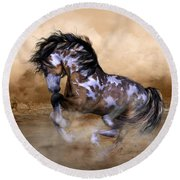 Wild And Free Horse Art Round Beach Towel