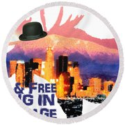Wild And Free-in Anchorage Round Beach Towel by Elaine Ossipov