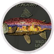 Wild And Free In Anchorage-trout With Hat Round Beach Towel by Elaine Ossipov