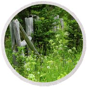 Round Beach Towel featuring the photograph Wild And Wildflowers by Marie Leslie