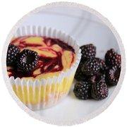 Wild Black Raspberry Dessert Round Beach Towel by Lori Deiter