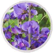 Wild Blue False Indigo Round Beach Towel