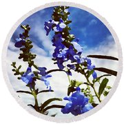 Wild Blue Sage  Round Beach Towel