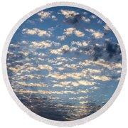 Wild Blue Sunset Round Beach Towel