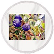 Wild Blueberries Round Beach Towel
