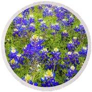 Wild Bluebonnets Blooming Round Beach Towel