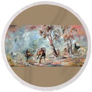 Wild Brumbies Round Beach Towel