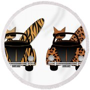 Wild Cats Go Surfing Round Beach Towel