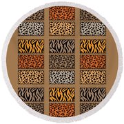 Wild Cats Patchwork Round Beach Towel