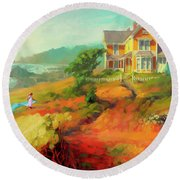 Round Beach Towel featuring the painting Wild Child by Steve Henderson