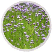 Round Beach Towel featuring the photograph Wild Chives by Chevy Fleet