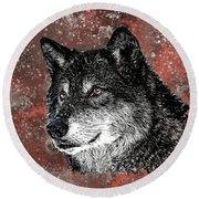 Wild Dark Wolf Round Beach Towel